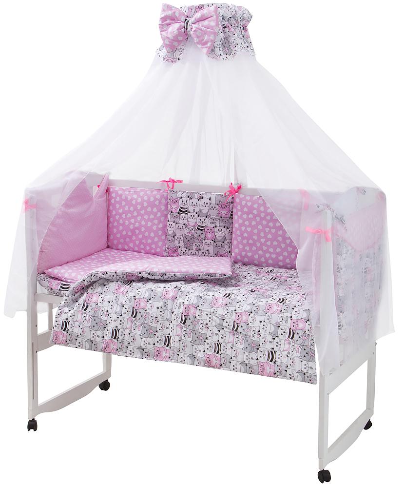 Детская постель Babyroom Classic Bortiki-01 (8 элементов) розовый (коты)