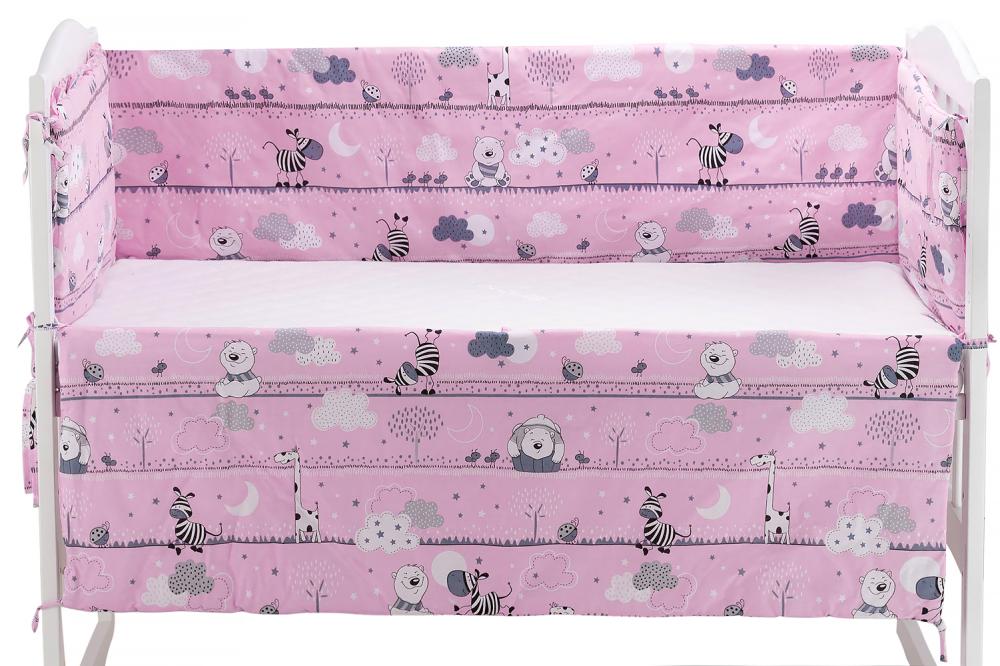 Защита в кроватку Qvatro Gold ZG-02 розовый (мишка, зебра)