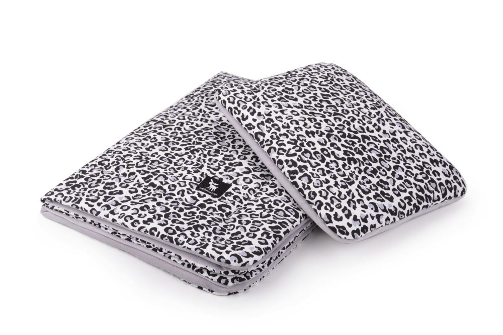 Плед с подушкой Cottonmoose Cotton Velvet 408/153/117 pantera gray cotton velvet gray (серый леопардовый с кремовым (бархат))