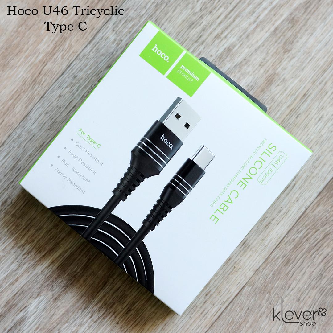Оригинальный кабель синхронизации и зарядки Hoco U46 Tricyclic Type C (1м, 2А, черный)