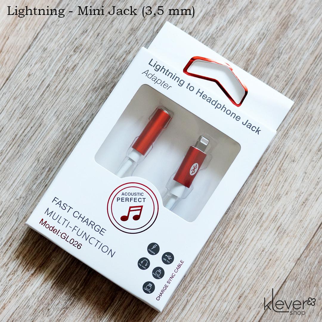 Переходник-адаптер для iPhone Lightning - mini jack (3,5 mm) (двунаправленный, поддержка микрофона)