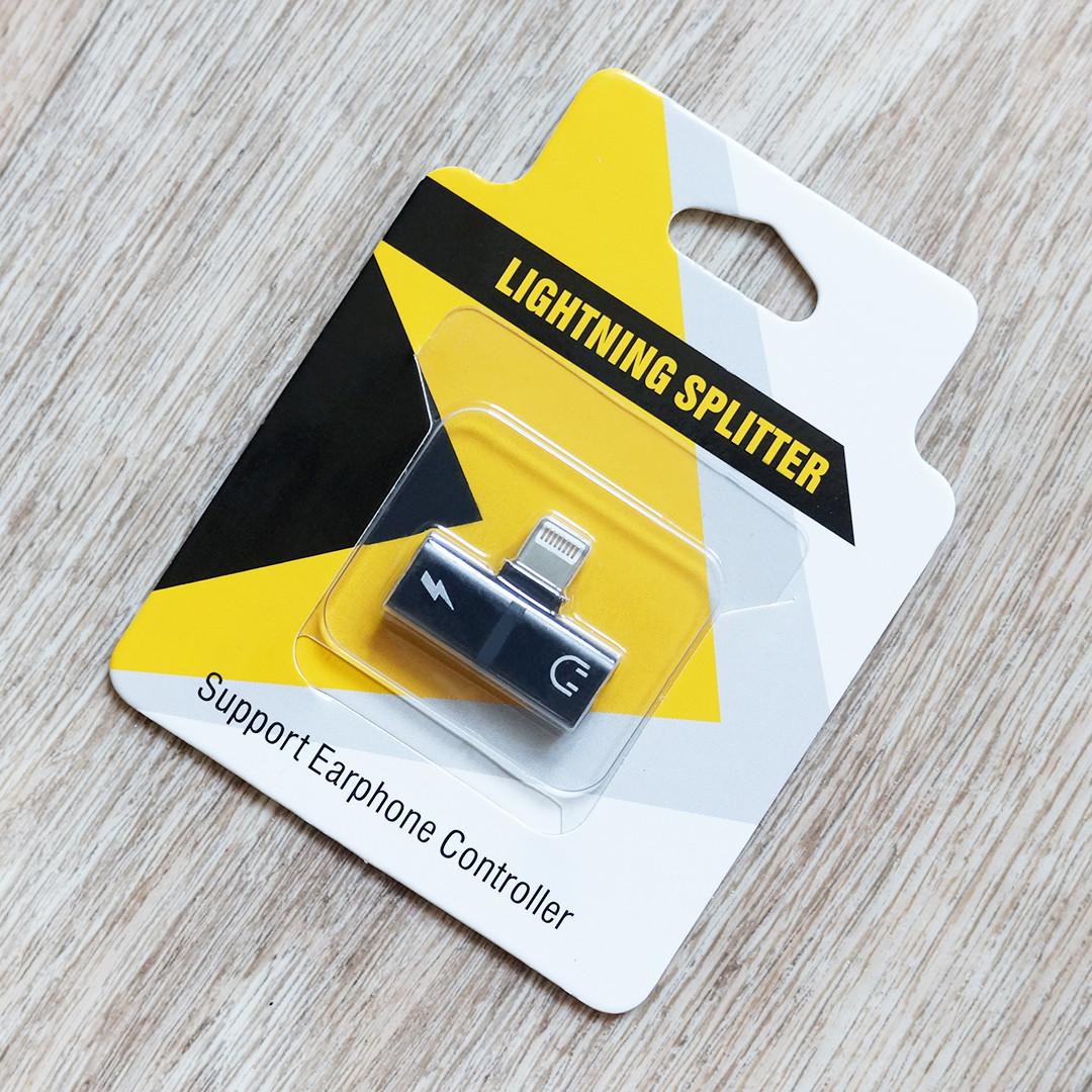 Переходник Lightning splitter для iPhone и iPad (2 разъема Lightnig для наушников и зарядки) (черный)