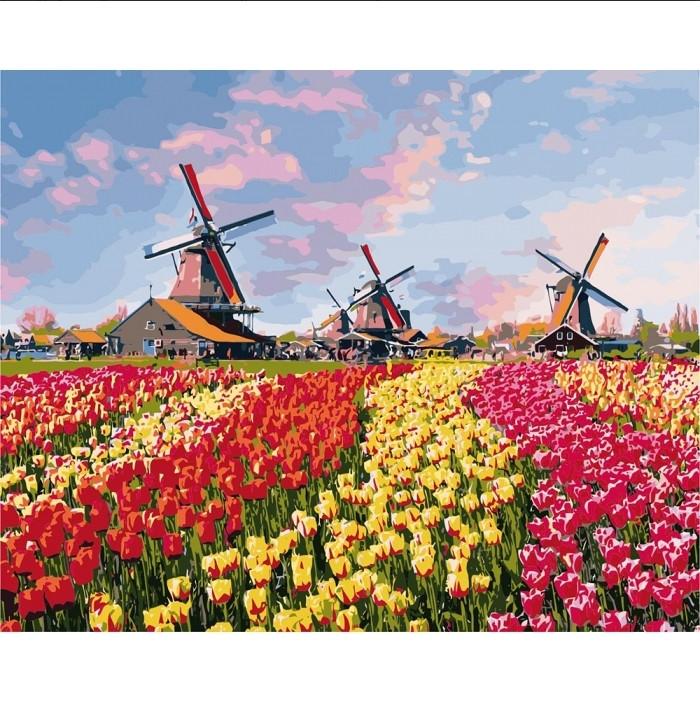 """Картина по номерам """"Красочные тюльпаны Голландии"""", Идейка, 40х50"""