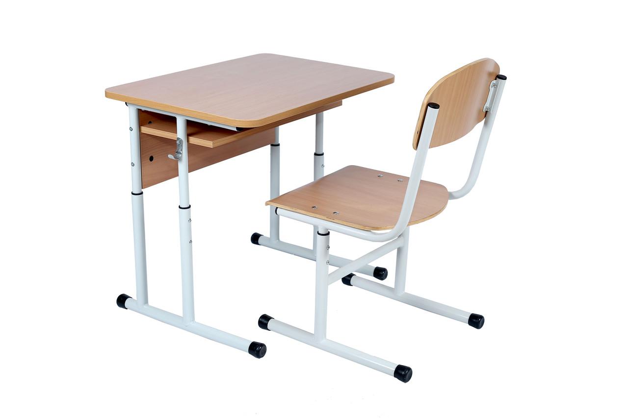Комплект: стол ученический 1-местный с полкой, 4-6 + стул Т-образный 4-6