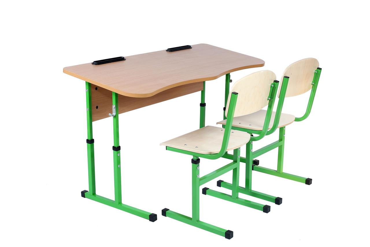 Комплект стол ученический 2-місний без полки антисколіозний, 4-6+стул Т-образный, 4-6
