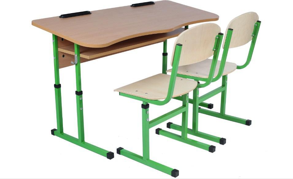 Комплект стол ученический 2-місний с полкой антисколіозний, 4-6 + стул Т-образный, 4-6