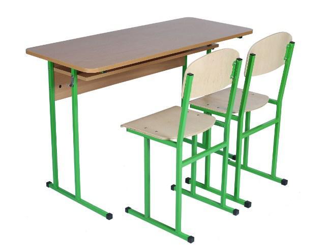 Комплект стол ученический 2-місний с полкой, 6 + стул полоз, 6.