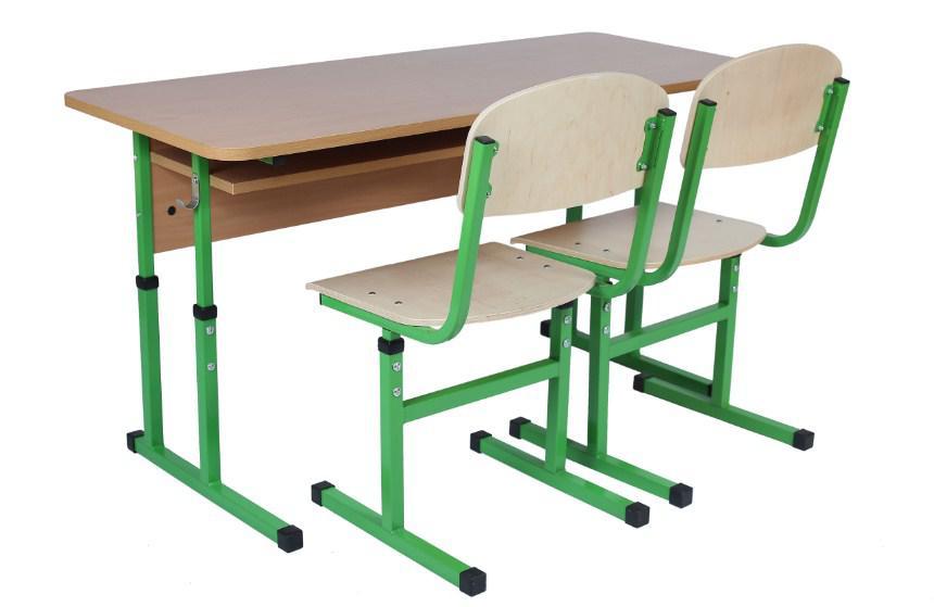 Комплект стол ученический 2-месный с полкой, 4-6+стул Т-образный, регул. по высоте 4-6.