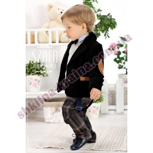 Комплект для мальчика 5 предметов бархатный с клетчатыми брюками Арт. WS022 Krasnal