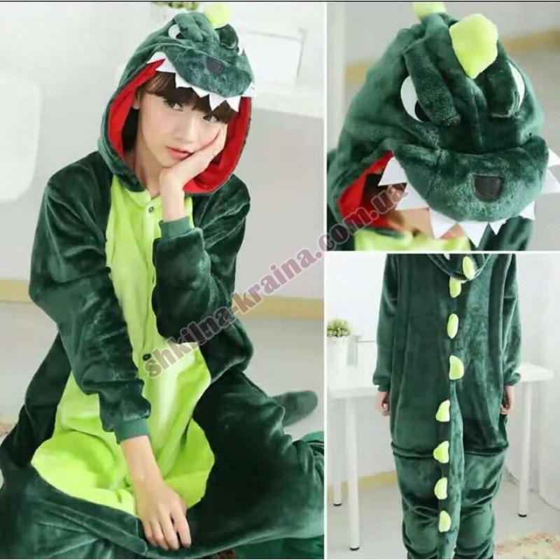 Кигурими пижама для мальчика велсофт зелоная Арт. Динозавр