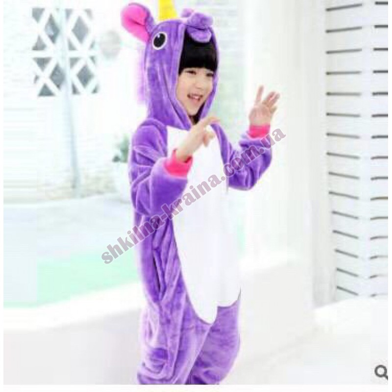 Кигурими пижама для девочки теплая с велсофта яркая Арт. Единорог