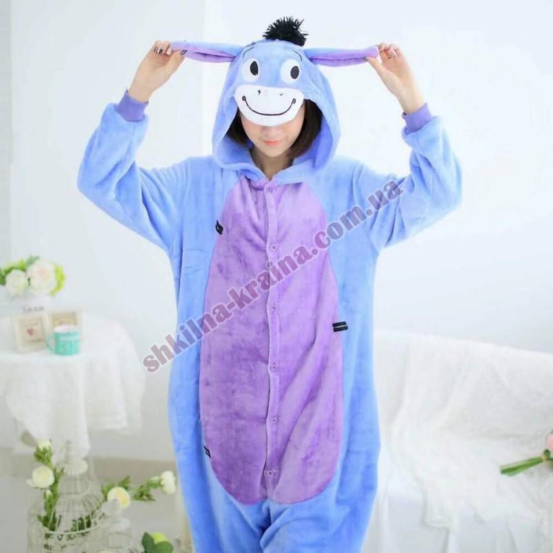 Кигурими пижама фиолетовая теплая велсофт яркая Арт. Ослик