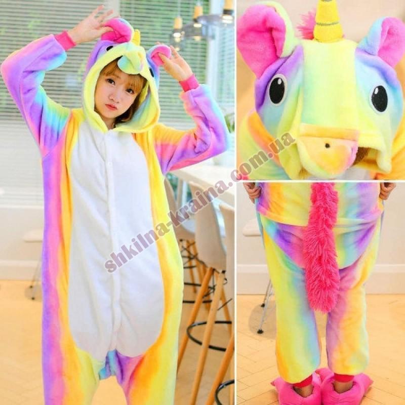 Кигурими пижама для девочки теплая яркая с велсофт ткани Арт. Радужный