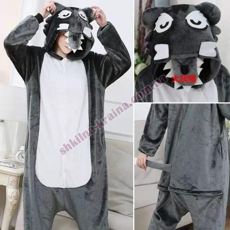 Кигурими пижама для мальчика велсофт темно серая Арт.Серый волк