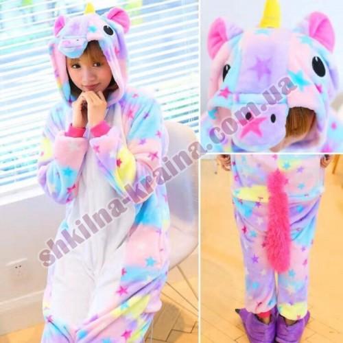 Кигурими пижама детская теплая яркая велсофт Арт. Звездный