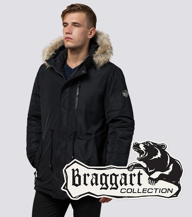 Braggart Black Diamond 31720 | Мужская парка с меховой опушкой черная р. 46
