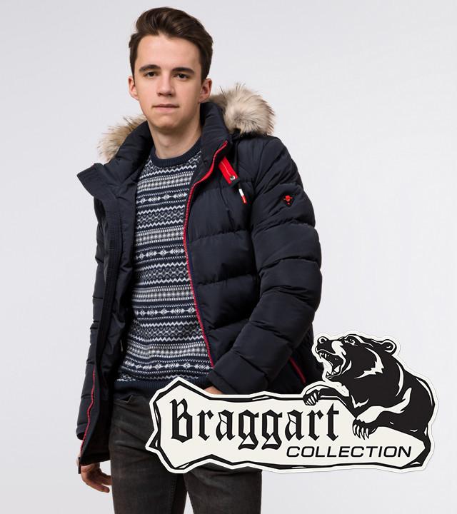 Подросток 13-17 лет | Куртка зимняя Braggart Teenager 73563 темно-синяя р. 40 42 44
