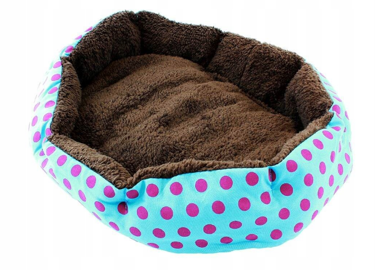 Кровать LEADER SOFA 33*38 см для собак синий с розовыми точками