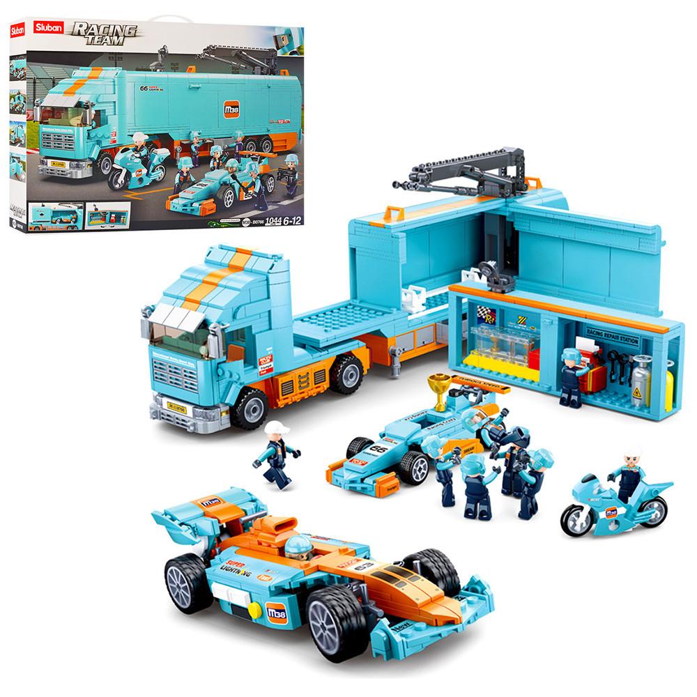 Конструктор детский трейлер, гоночная машина, мотоцикл, фигурки гонщиков Sluban
