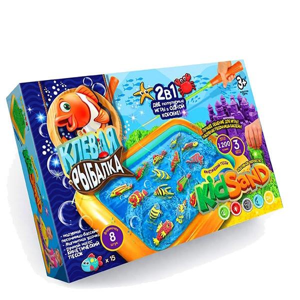 Детская игра с кинетическим песком + рыбалка на магнитную удочку, Danko Toys