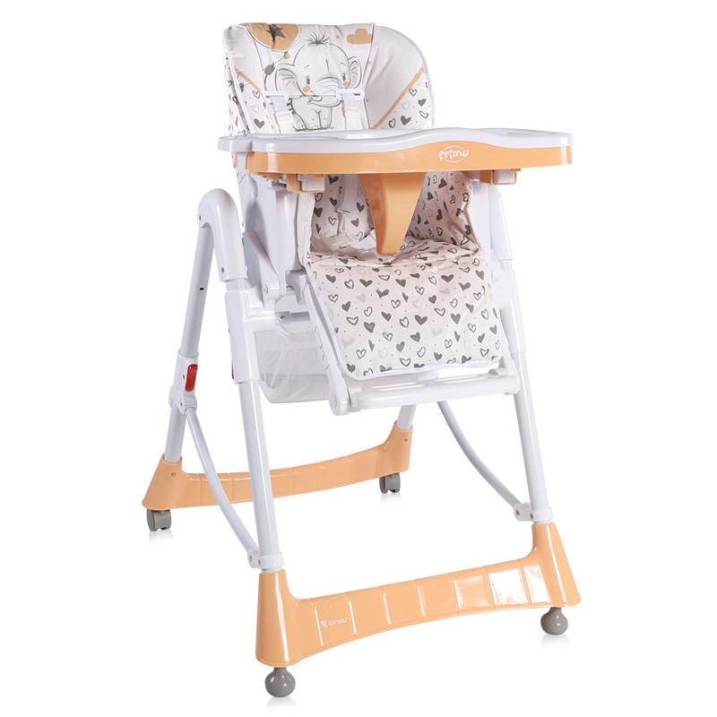 Стульчик для кормления малыша на задних колесиках с корзиной для игрушек