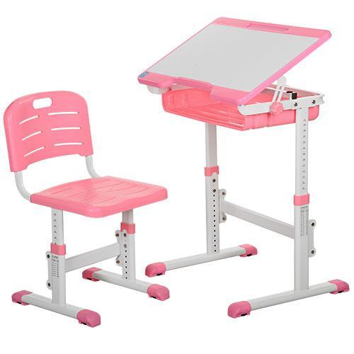 Парта школьная Bamdi регулируемая со стулом розовая