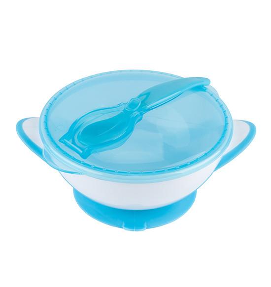 Тарелка с присоской и крышкой и ложкой, BabyOno, тарелка на присоске, тарелка для прикорма, мисочка