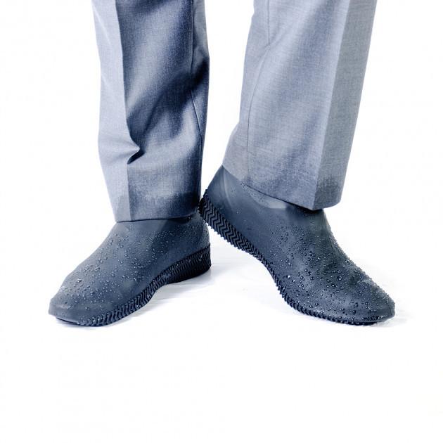 Силиконовые водонепроницаемые бахилы чехлы на обувь размер L 41-45 р обуви СЕРЫЙ