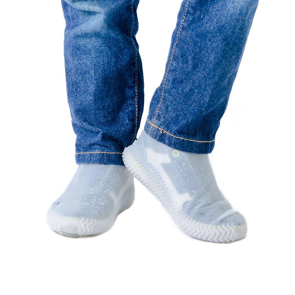 Силиконовые водонепроницаемые бахилы чехлы на обувь размер М 36-40 р обуви БЕЛЫЙ