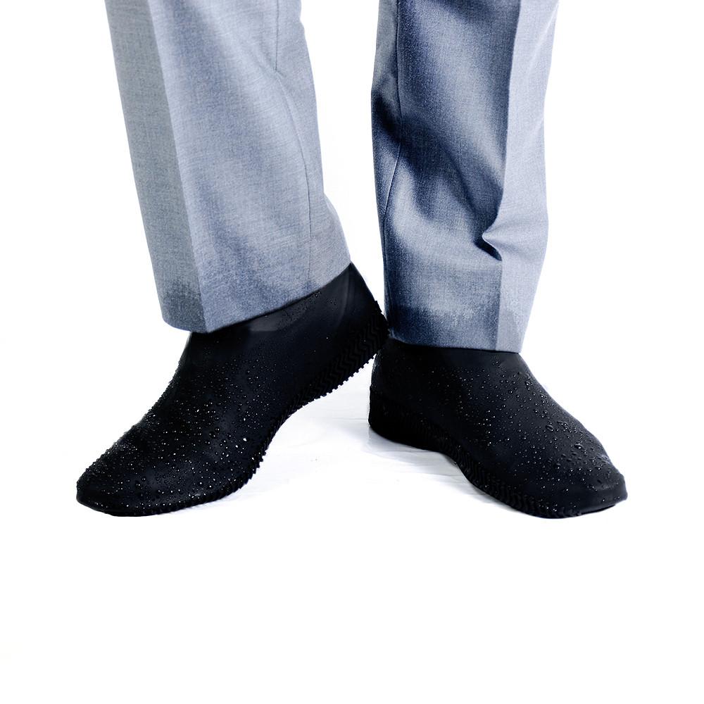 Силиконовые водонепроницаемые бахилы чехлы на обувь размер М 36-40 р обуви ЧЕРНЫЙ