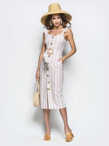 Плаття в широку смужку з гудзиками спереду