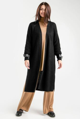 Подовжений кардиган-пальто прямого силуету