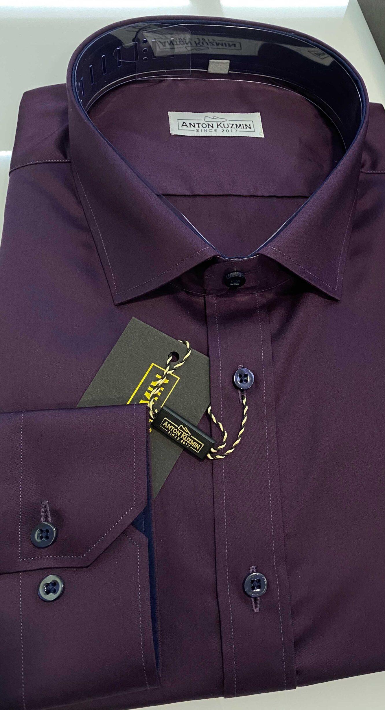 Рубашка Slim Fit бордовая 014