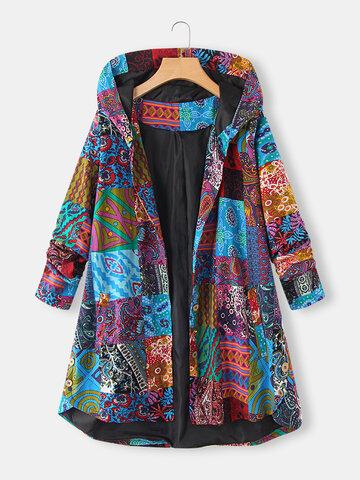 Пальто с капюшоном и карманами размера Plus с этническим принтом и низким низом