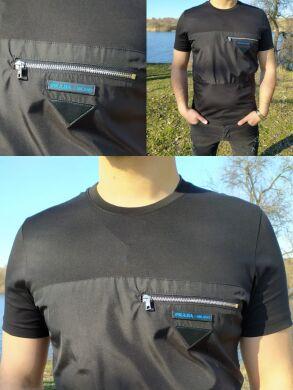 Черная комбинированная мужская футболка с замком бренд -63065