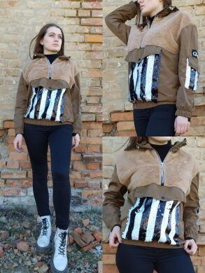 Женская худи пайетки со вставками под мех- 3513