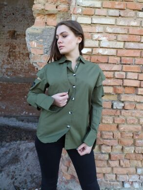 Женская рубашка с разрезанными рукавами -3471 - Новинка !