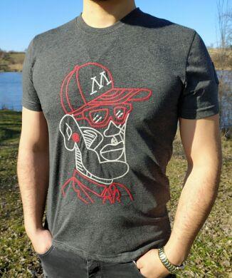 Серая расшитая мужская футболка - принт- 63038 - Новинка !