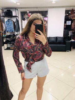 Женская блуза яркий цветочный принт