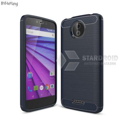 """Защитный чехол Hybrid Carbon для Motorola Moto C Plus """"синий"""""""