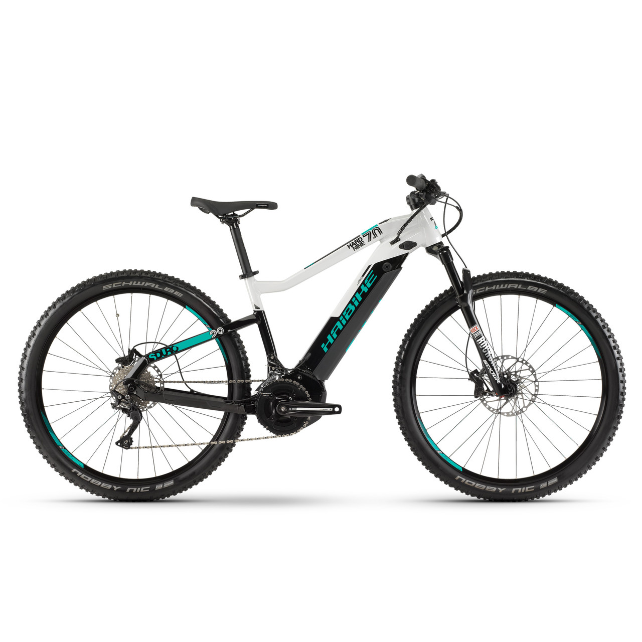 "Электровелосипед Haibike SDURO HardNine 7.0 i500Wh Deore 19 HB YCS 29"", рама M, черно-серо-бирюзовый, 2019"