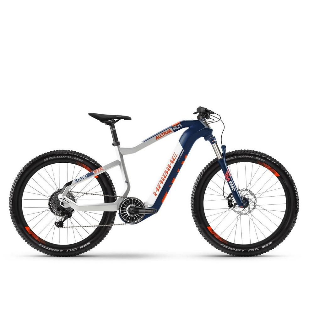 "Электровелосипед Haibike Flyon XDURO AllTrail 5.0 i630Wh 11 s. NX 19 HB 27.5"", рама M, сине-бело-оранжевый, 2020"