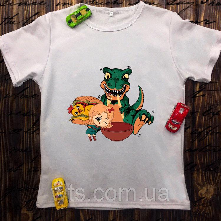 Мужская футболка с принтом - Динозавр с курочкой