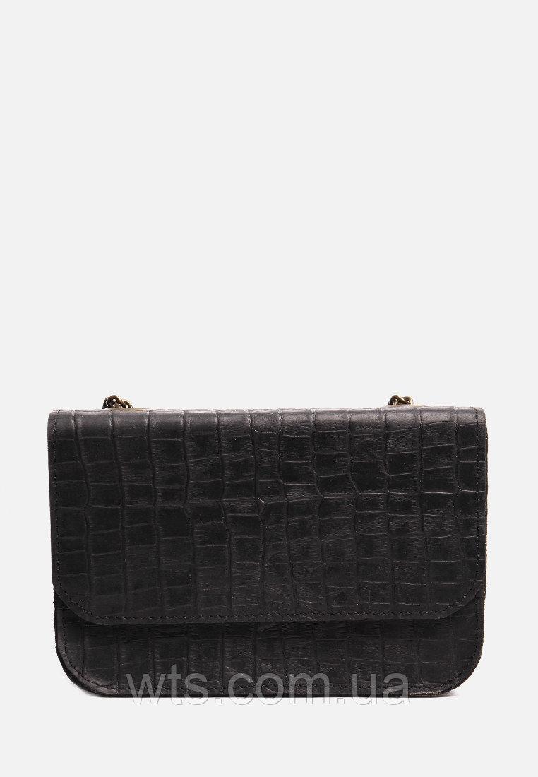 VM-Villomi Черная кожаная сумочка с оттиском под кайман
