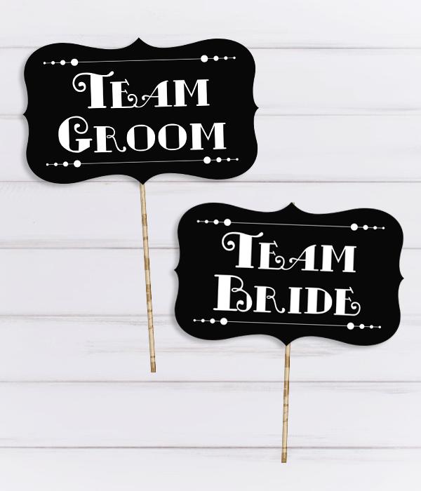 """Таблички для фотосессии """"Team Bride"""" и """"Team Groom"""""""