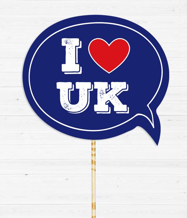 "Табличка для фотосессии ""I love UK"""