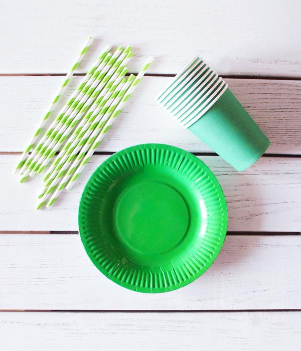 """Набор посуды - тарелочки, стаканчики и трубочки """"Зеленый микс"""" (30 шт.)"""