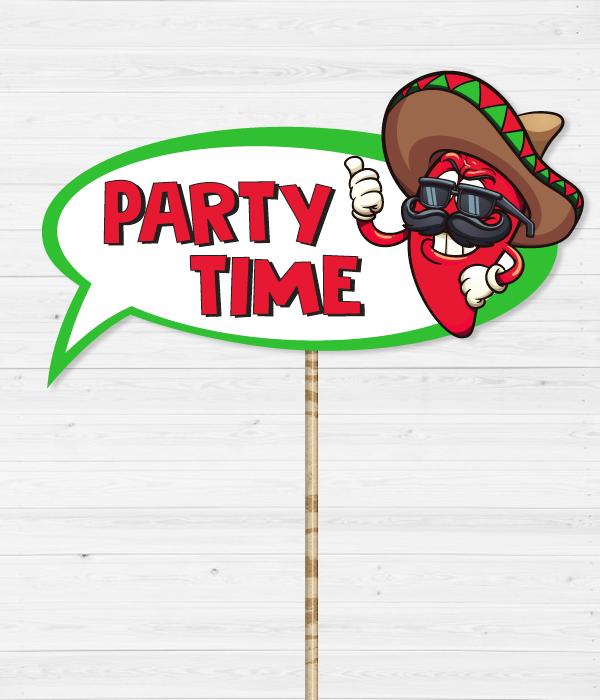"""Табличка для фотосессии на мексиканской вечеринке """"Party Time"""""""