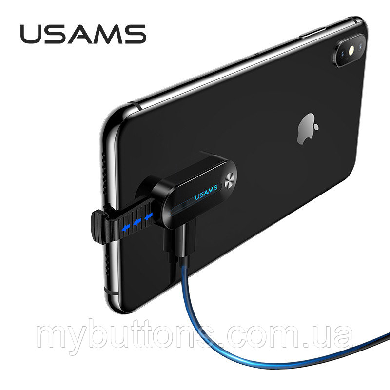 Переходник USAMS Lightning to 3.5mm+Lightning Adapter With LED Light US-SJ358 AU10 2A