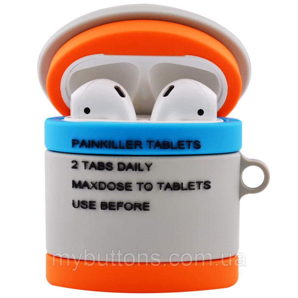 Силиконовый футляр PUBG с карабином для наушников AirPods (Pills)